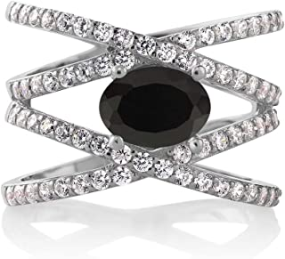 Gem Stone King 925 Sterling Silver Black Onyx Criss Cross Women`s Ring (2.18 Cttw Oval Gemstone Birthstone Available 5,6,7,8,9)
