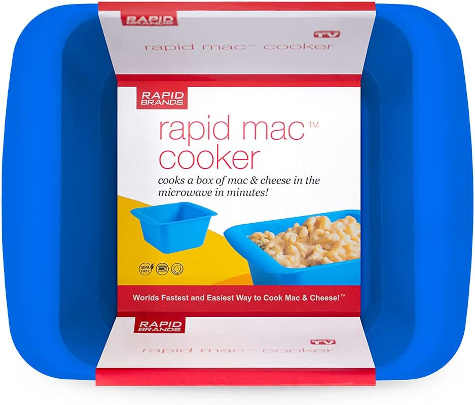 Rapid Mac Cooker | Microwave Macaroni & Cheese in 5 Minutes | Perfect for Dorm, Small Kitchen or Office | Dishwasher Safe, Microwaveable, BPA-Free | Blue