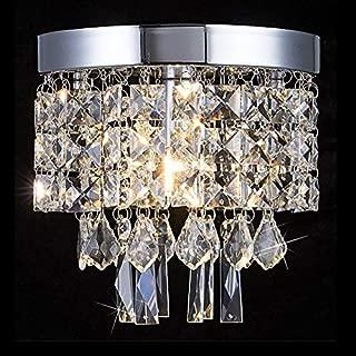 Floodoor Mini Crystal Chandelier Lighting, 1 Light Flush Mount Ceiling Light, W7.9 X H7.9 Modern Pendant Lamp Fixture for Dining Room, Bedroom, Kitchen, Hallway, Bar, Bathroom, Silver