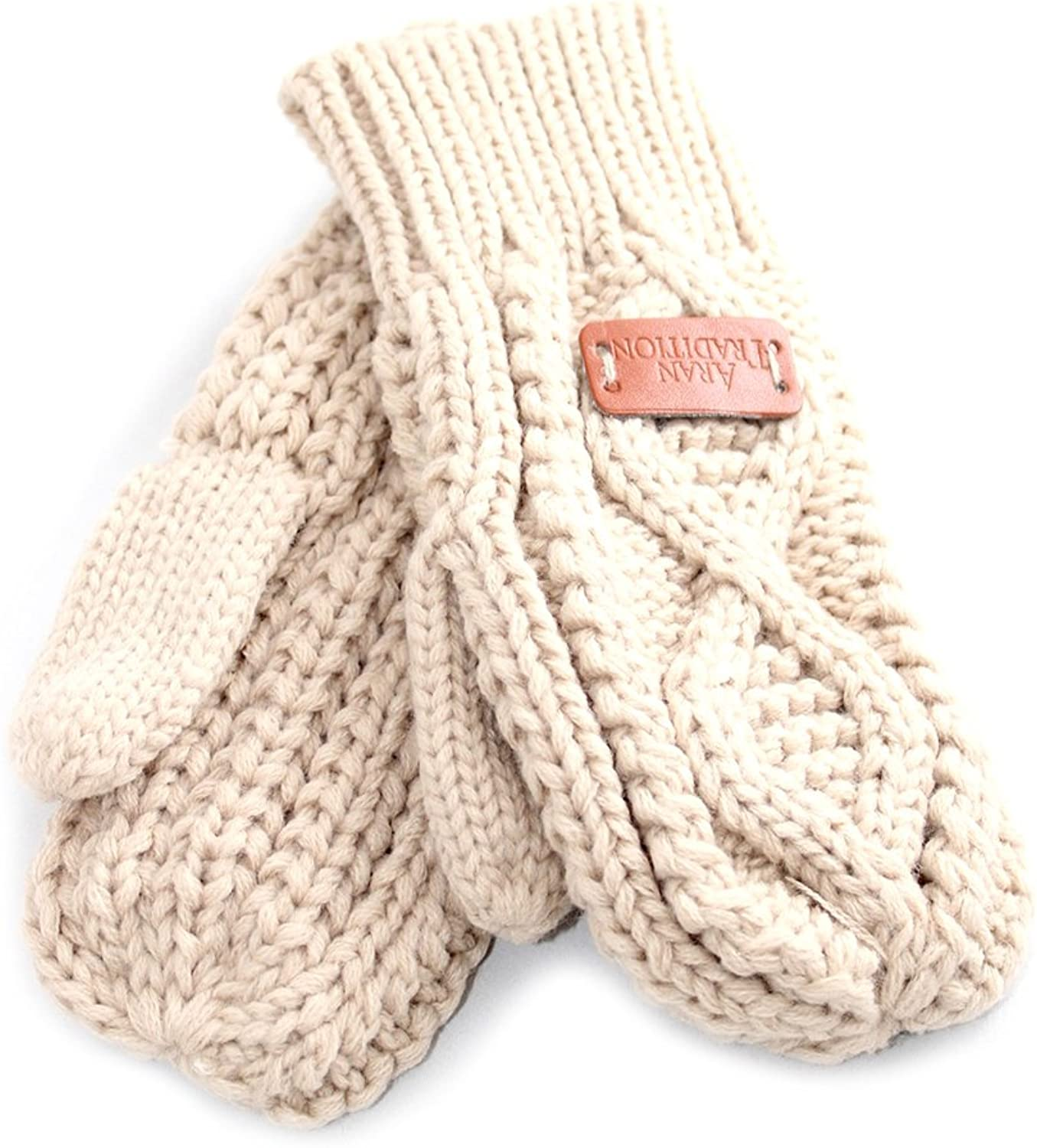 Aran Traditions Oatmeal Beige Cable Knit Mitts