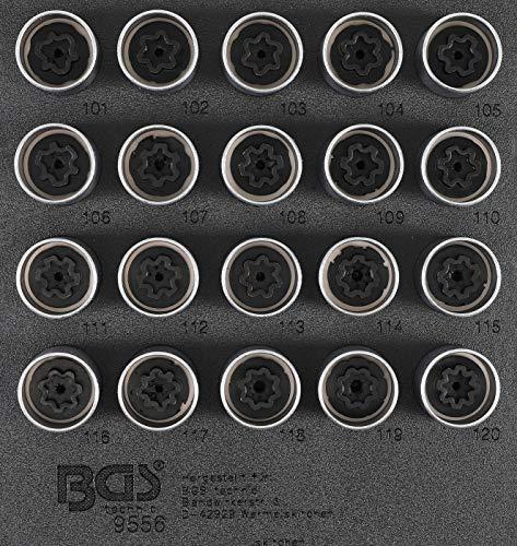BGS 9556 | Insert de servante d'atelier 1/6 : Jeu d'outils pour écrous antivol pour Vauxhall (type A) | 20 pièces