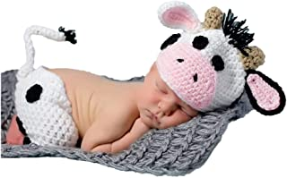 Baby Photography Props Boy Girl Photo Shoot Outfits Newborn Crochet Costume Infant Knitted Clothes Cow Hat Pants White