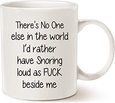 MAUAG Funny Snoring Mugs for Husband Who Snore, Best Valentine's Day and Wedding Anniversary White 11 Oz