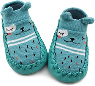 VEVESMUNDO, Calcetines para bebé, antideslizantes, suela de piel, calcetines de suelo, calcetines para niños, calcetines para aprender a andar, para niños pequeños, niñas, jóvenes, invierno