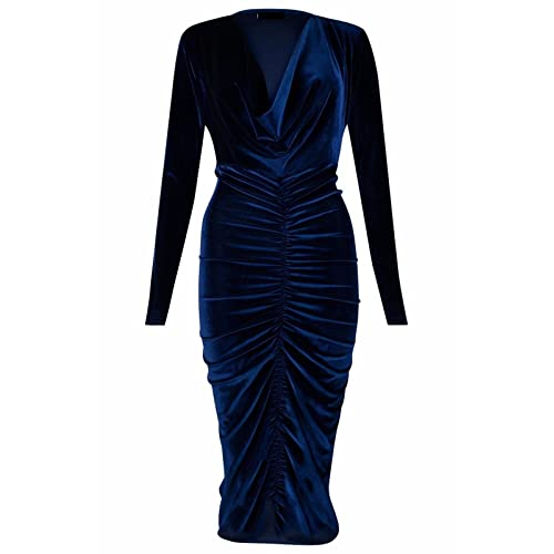 0b187a695ac Ladies Ladies Celebrity Style Velvet Plunged V-Neck Ruched Front Bodycon  Dress UK Size 8