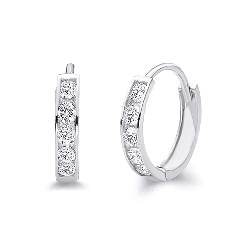 14k White Gold 2mm Thickness CZ Channel Set Hoop Huggie Earrings - 3 Differnet Size Available