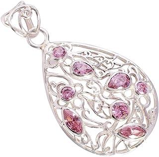 Ravishing Impressions Jewellery Colgante de plata de ley 925 con piedra preciosa de cuarzo rosa, regalo para ella FSJ-5334