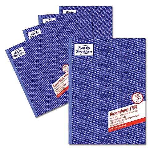 AVERY Zweckform 1756-5 Kassenbuch (A4, nach Steuerschiene 300, von Rechtsexperten geprüft, für Deutschland zur ordnungsgemäßen, kostengünstigen Buchführung, 2x40 Blatt) 5er Pack weiß/gelb
