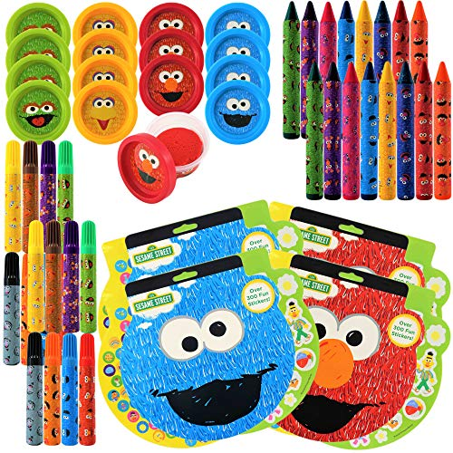 Sesame Street Birthday Party Favors Pack For 16 Guests   Includes Elmo and Friends Sticker Sheets, Markers, Crayons, Dough   Elmo and Friends Goodie Bags Party Gift Set