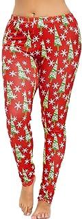 MCYs MCYs Weihnachtsbaum Druck Frauen Ziehen Mittlere Taillen Bleistift Hosen Damen Leggings Strumpfhose Active Running Hosen