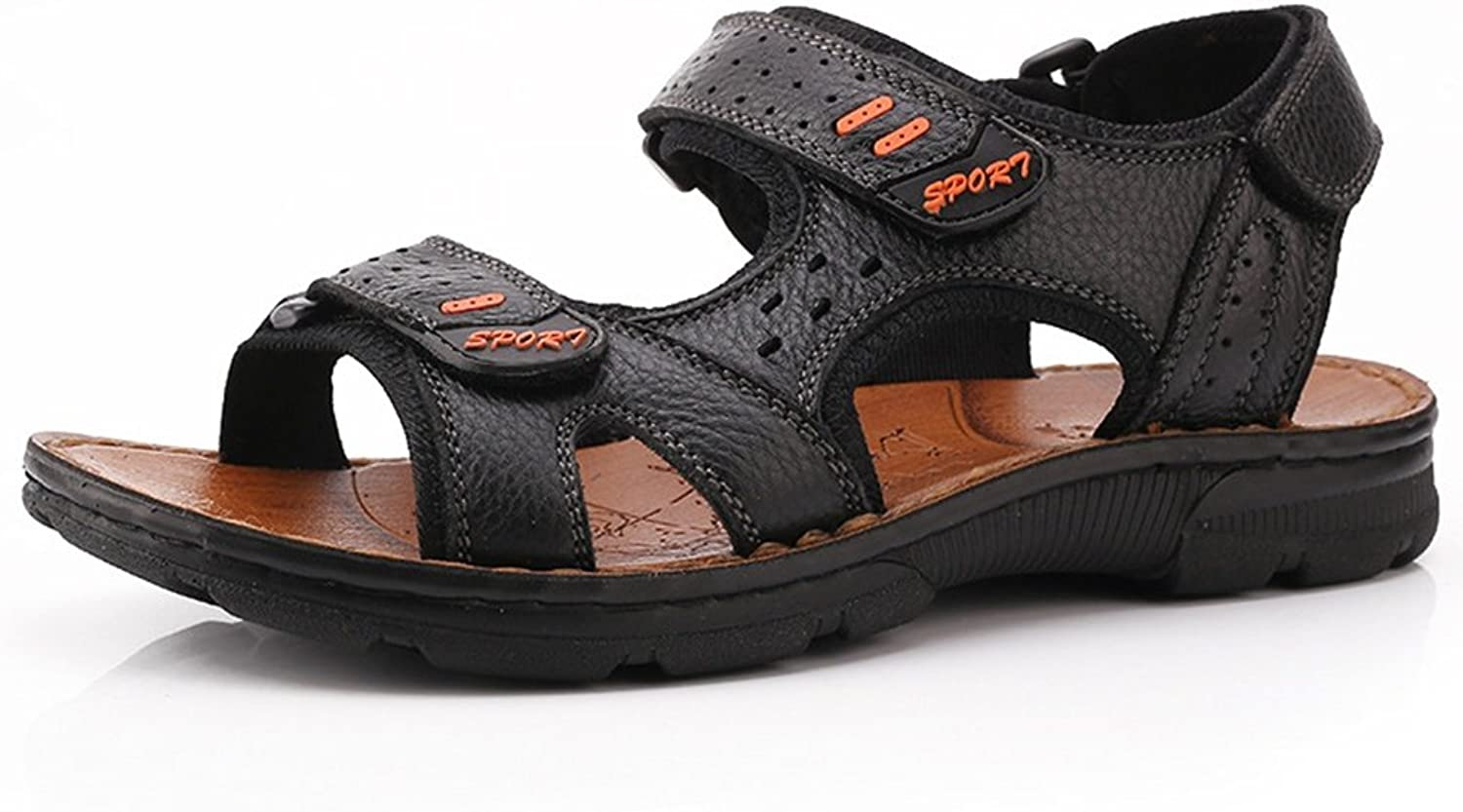 FFTX Men Open toe sandals outdoor Beach shoes The first layer of leather Non-slip Breathable Velcro Summer season movement sandals