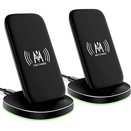 KKM Wireless Charger 2 Pack, 15W Fast Wireless Charging Stand Compatible with iPhone 13/13 mini/13 Pro/13 Pro Max/iPhone 12/12 Pro Max/12 Mini/11/X/XS Max/8, Samsung Galaxy S20 FE/S21 Ultra/Note 20