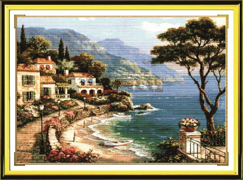 Benway Counted Cross Stitch Seaside with Boat House Trees and Mountain 14 Count 65cm X 53cm