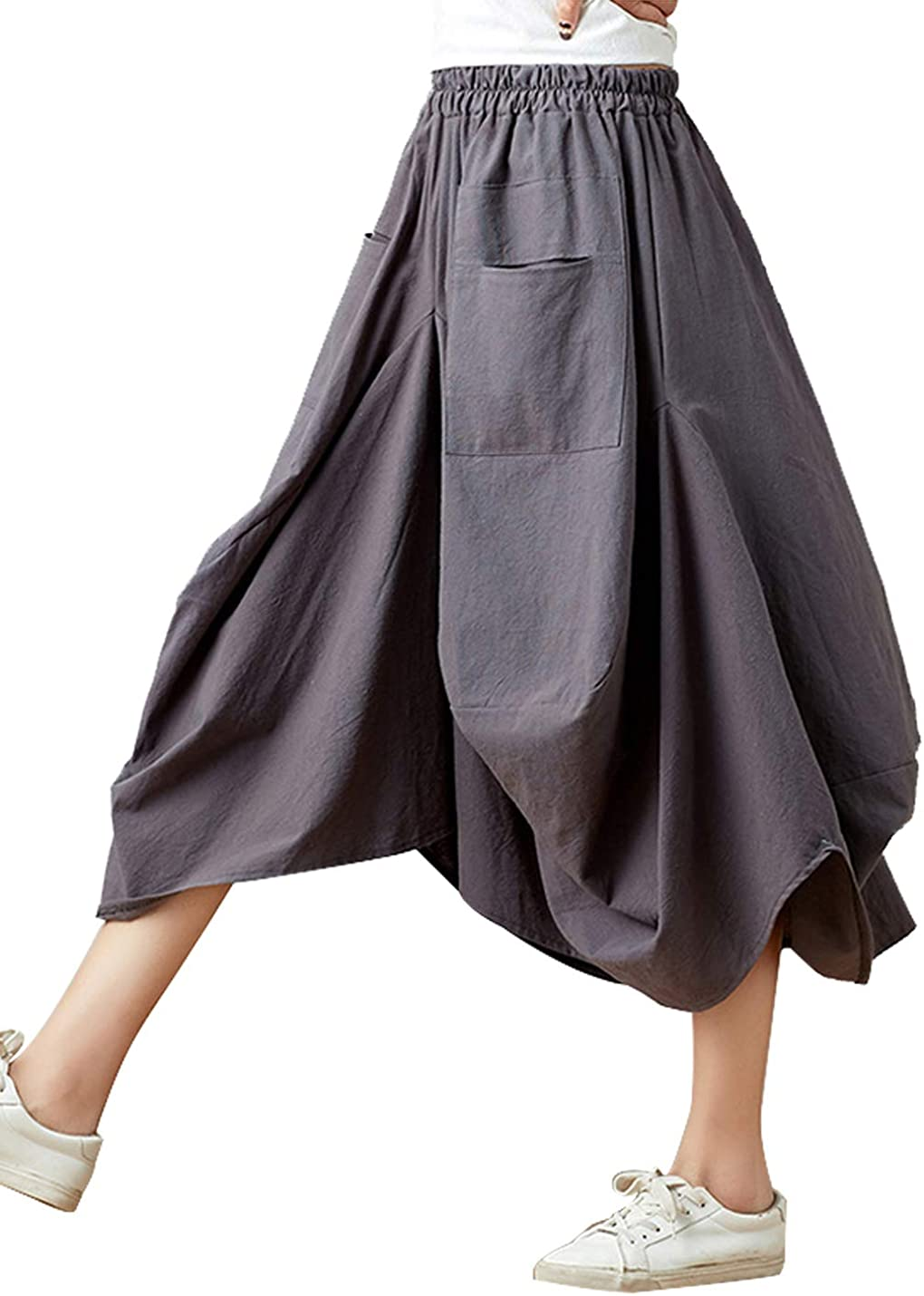 Women Casual Skirts Vintage Linen Cotton High Waisted Summer Midi Skirt