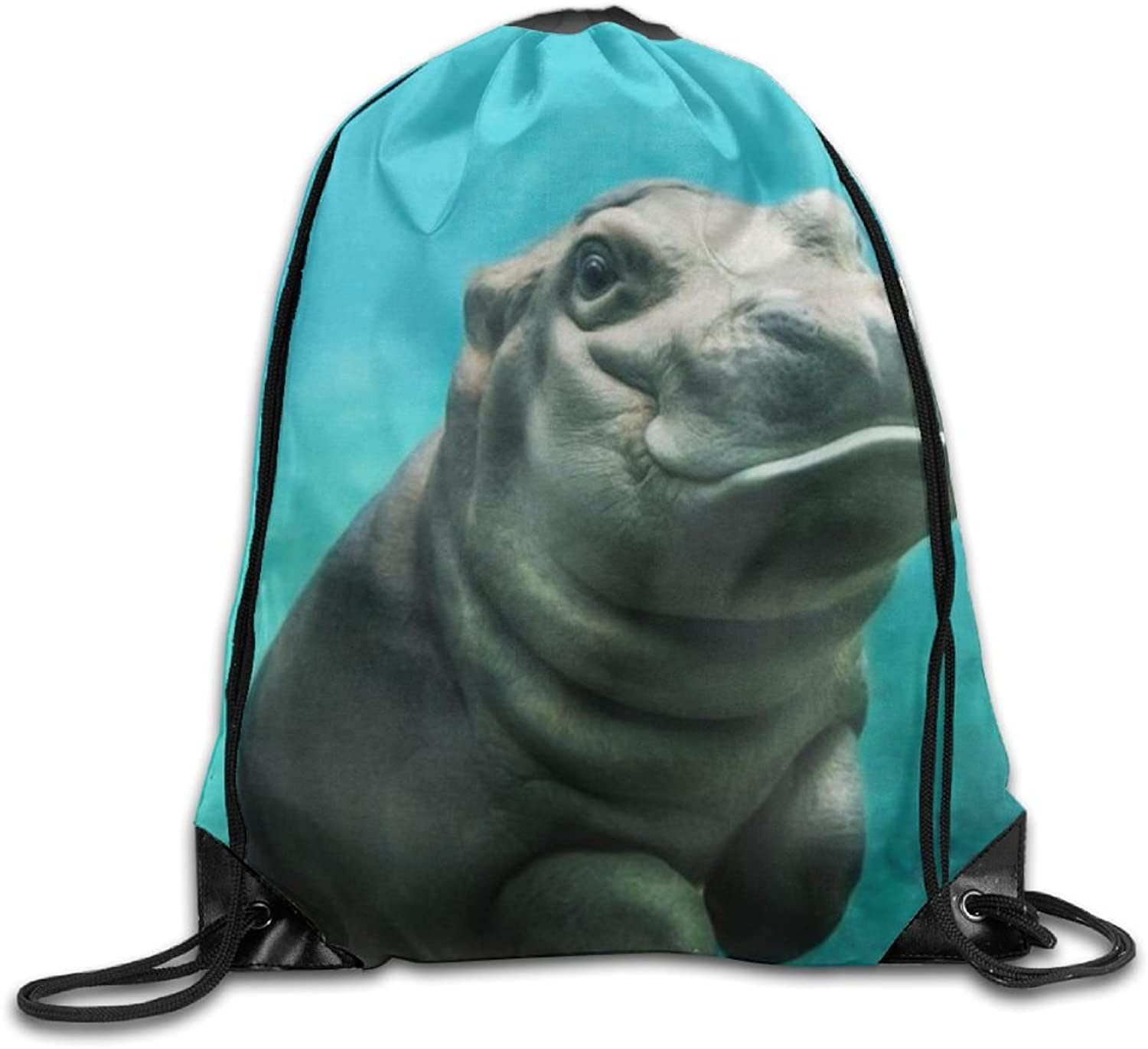 Baby Hippo Drawstring Backpack Rucksack Shoulder Bags Training Gym Sack for Man and Women