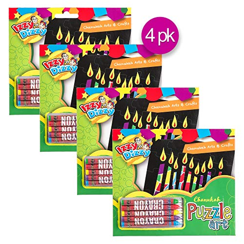 Izzy 'n' Dizzy Chanukah Puzzle Art Kit - Includes 5 Colored Crayons, 1 Puzzle Board - 7' x 6' - Hanukkah Arts and Crafts - Gifts and Games - 4 Pack