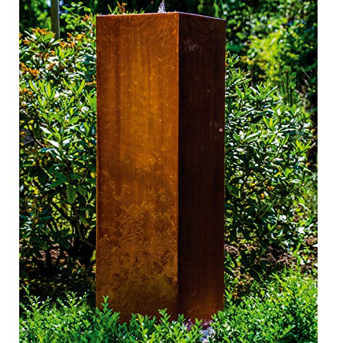 """Köhko® Würfelbrunnen """"Peru"""" Höhe 119 cm Gartenbrunnen 31006 aus Cortenstahl mit LED-Beleuchtung"""