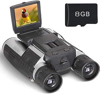 Binocular Cámara Digital Prismáticos Cámara Pantalla LCD HD 2 FHD 1080P Digital Vídeo 12 x 32 5MP Grabadora de Vídeo y Foto con Tarjeta de 8GB TF Gratis para Observar Pájaros