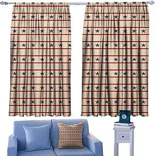 Mannwarehouse Primitive Country Noise Reduction Curtain Horizontal Borders Patriotic Stars Nostalgic USA Design Pattern 70%-80% Light Shading, 2 Panels,63