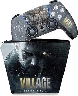 Capa Case e Skin Adesivo PS5 Controle - Resident Evil Village