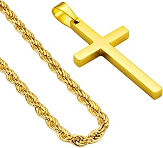 24inch Cross Necklace 18K Gold Plated Silver Mens Stainless Steel Men's Christ Jesus Holy Pendant Necklace