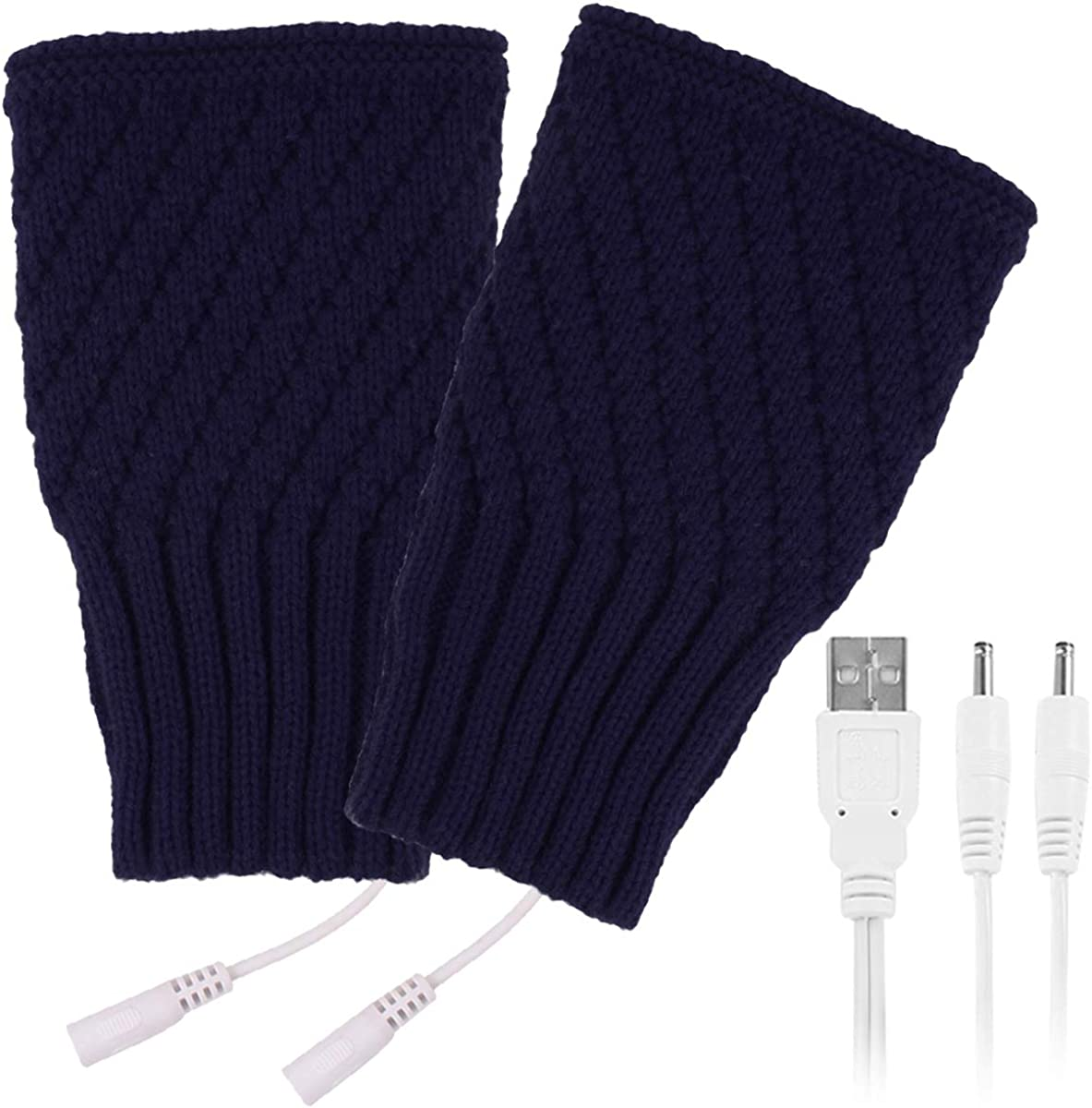 puseky 1 Pair USB Heated Gloves for Men Winter Knitted Warm Mitten Gloves for Typing Working