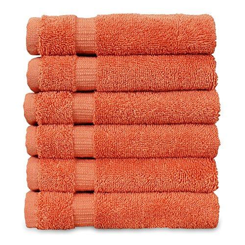 Luxury Hotel & Spa Towel Turkish Cotton Washcloths - Coral - Dobby Border - Set of 6