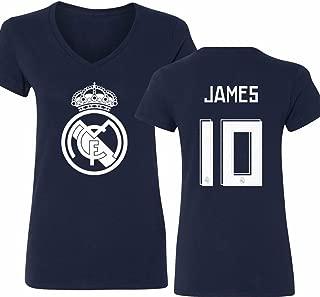 Real Madrid Shirt James Rodriguez #10 Jersey Womens V-Neck T-Shirt