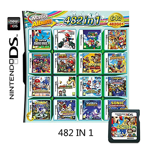 482 In 1 NDS Game Pack Card Compilations Super Combo Multicart DS Game Card for Nintendo DS NDSL NDSi NDSi LL/XL 3DS 3DSLL/XL New 3DS 2DS New 2DS