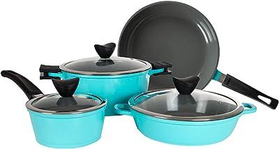 7-Piece Nonstick Aluminum Cookware Set - Zelancio Cast Aluminum Ceramic Coated Pots and Pans Set, Induction Stove Compatible, Kitchen Cook Ware Sets (Teal)