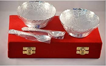 Indian Accent Silver Plated Brass 2 Bowls,2 Spoons Design with Decorative Gifting Box Set Of 4