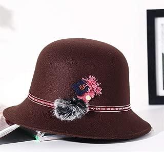 SHENLIJUAN Women's Autumn and Winter Woolen hat Fashion Elegant Personality Floral Outdoor Warm Basin Cap Korean hat (Color : Coffee, Size : M56-58cm)