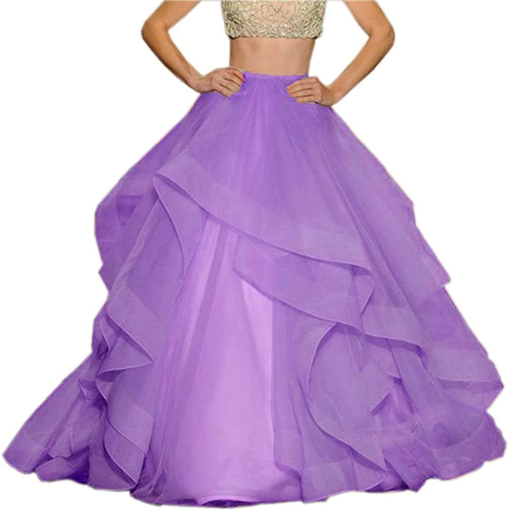 Lisong Floor Length Tulle Tutu Layers Prom Party Skirt for Women