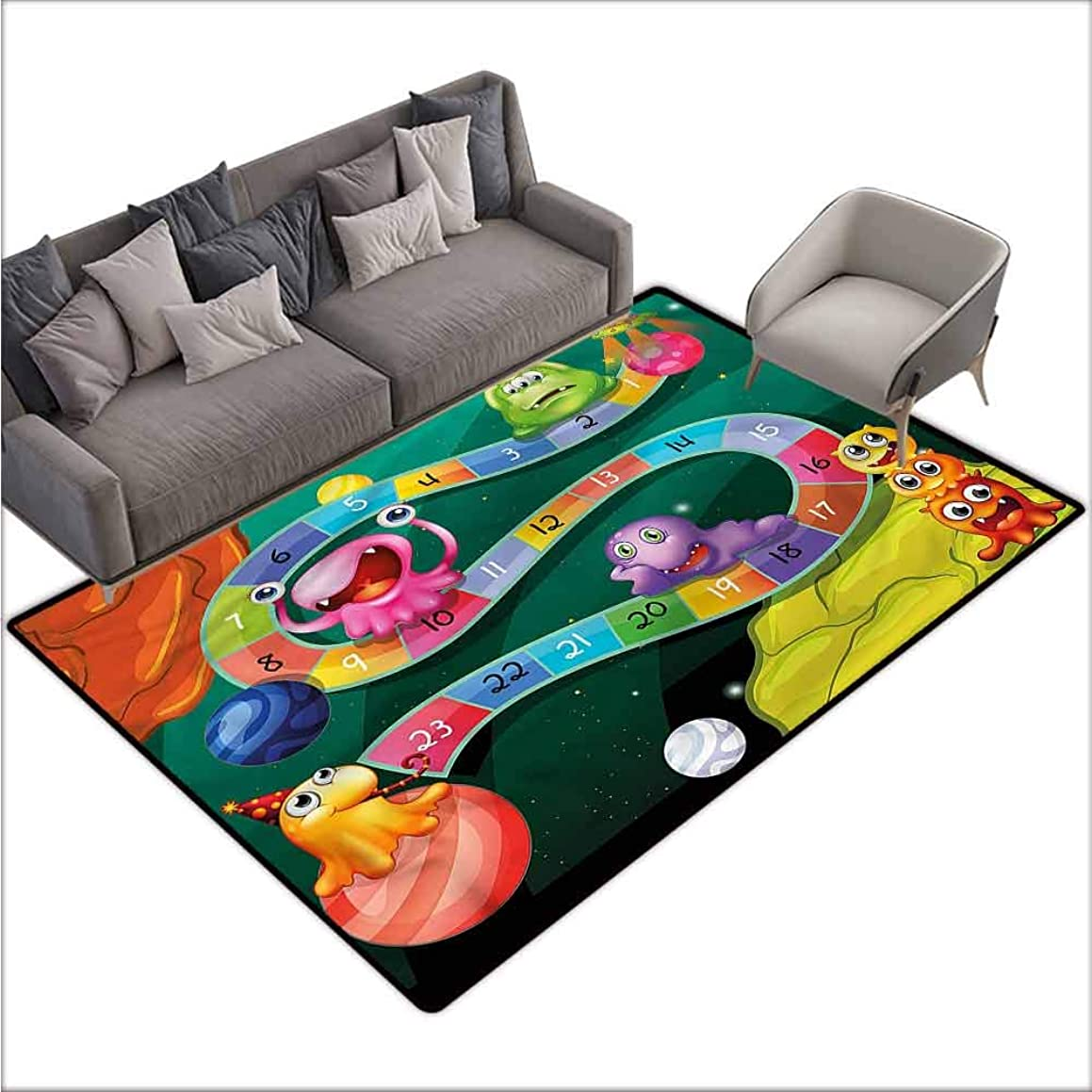 Long Kitchen Mat Bath Carpet Board Game,Cartoon Style Fun Aliens 80