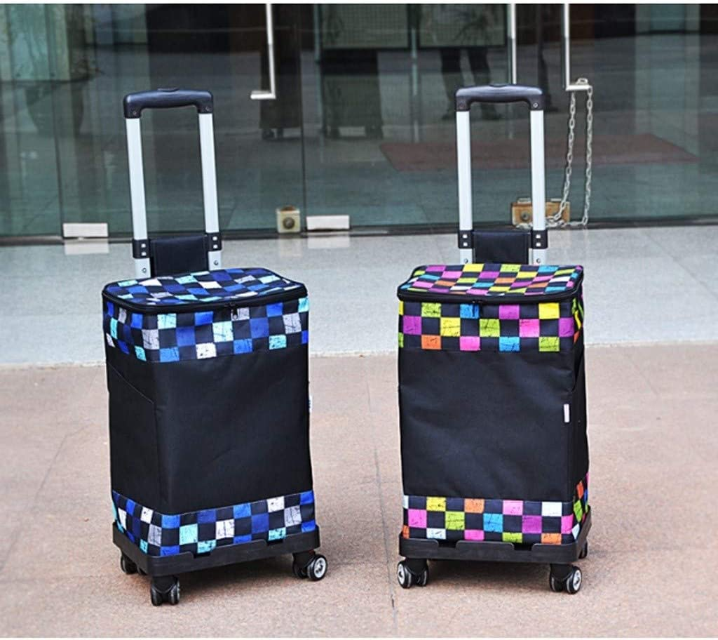 Color : A CML Shopping Cart Grocery Store Thicken Oxford Cloth Steel Frame Portable Multi-Function Household Grocery Shopping Cart Portable Design