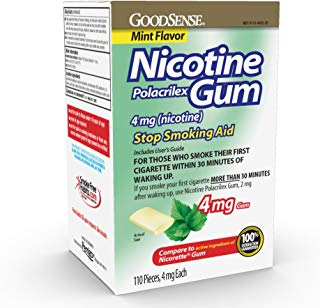 GoodSense Nicotine Polacrilex Gum 4mg, Mint, 110-count, Stop Smoking Aid, GoodSense Smoking Cessation Products