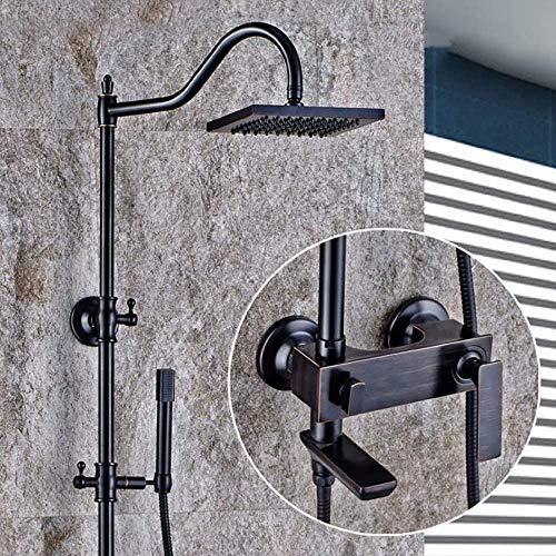 Juego de ducha para baño, grifo negro de latón con cabezal de ducha, 3 características de la ducha se puede ajustar arriba y abajo