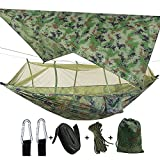 Camping 2 Person Hammock with Mosquito Net, Tent, Tree Straps Heavy Duty Waterproof Lightweight Nylon Portable Gammock for Hiking Outdoor Travel Beach Survival Backyard (Camouflage+Camouflage)