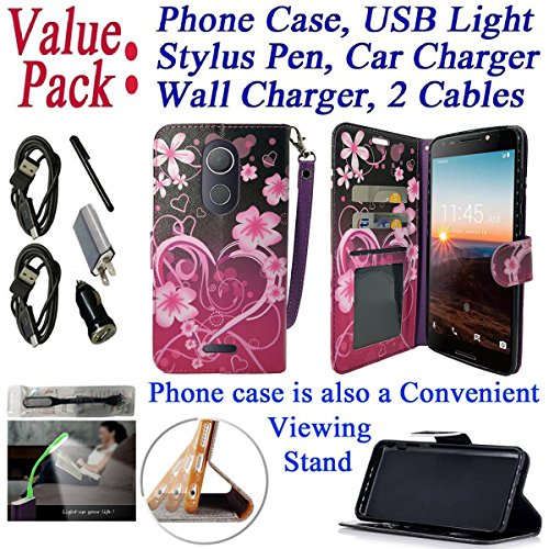 "Value Pack + for 6"" T-Mobile REVvL + PLUS Case Wallet Phone Case Designed Grip Texture Kick stand Hybrid Pocket Purse Screen Flip Cover (Big Heart)"