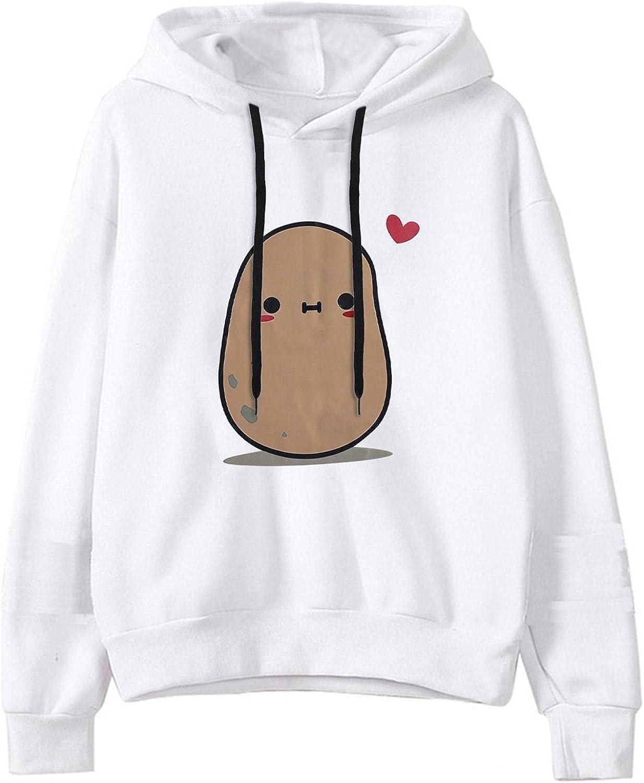 Sweatshirts for Women,Womens Sweatshirts Hoodie Pullover Plus Size Cute Potato Graphic Long Sleeve Oversized Hoodies