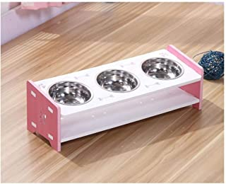 Ljwy 3 Dog Bowl cat Bowl - Feeder with Waterproof Seal and Wooden Frame pet Table cat Feeder - for Cats and Puppies
