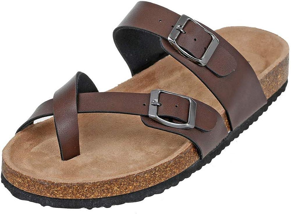 Hutop Women's Slides Anti-skidding Flat Cork Sandals Strap Open Toe Footbed Slipper Comfort Beach Indoor and Outdoor