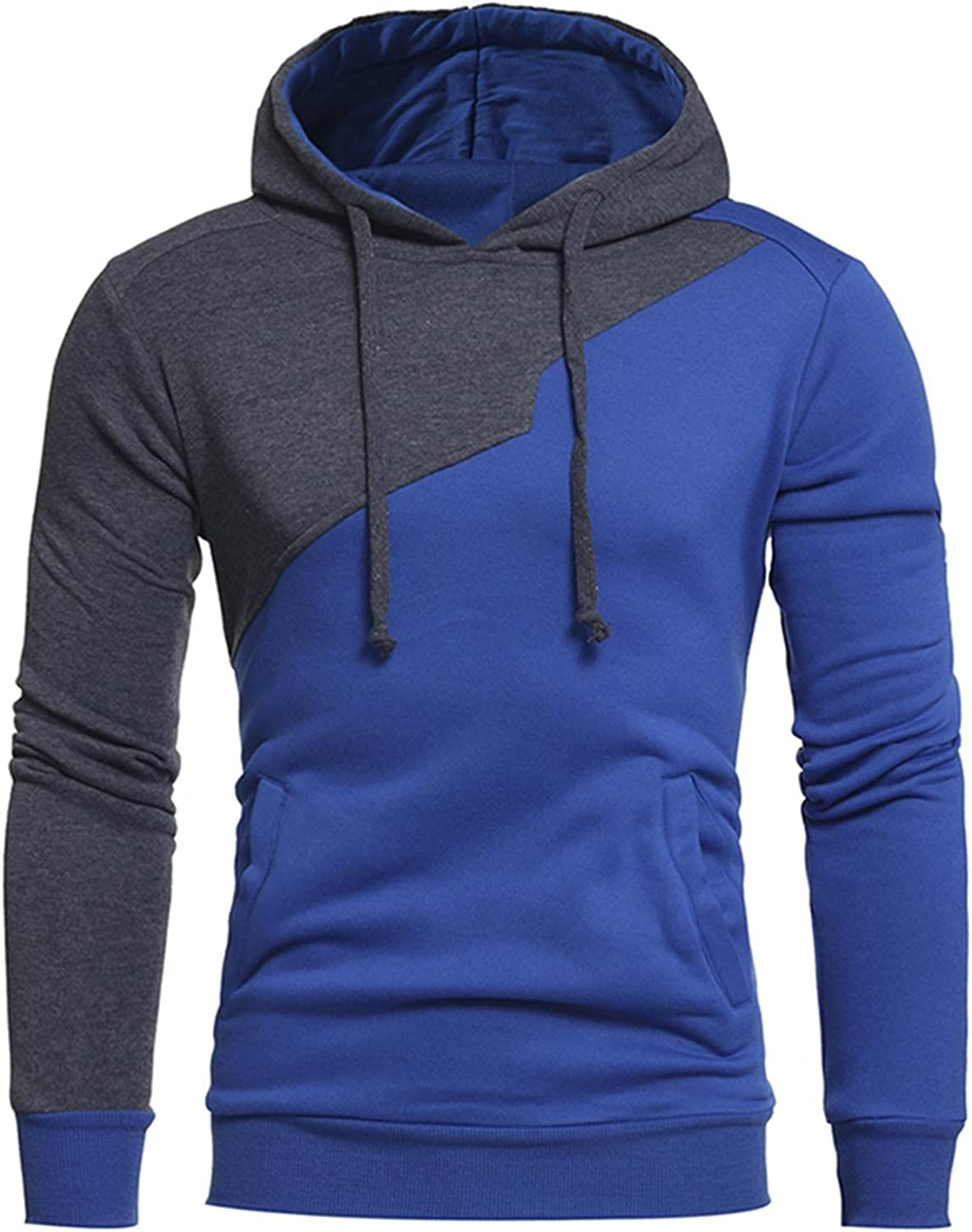 Qsctys Mens Sweatshirt Casual Patchwork Color Sports Crewneck Hooded Pullover Outwear Lightweight Cotton Fashion Hoodies