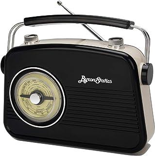 Byron Statics Radios portátil Am FM analógico Gran dial Giratorio Buena sensibilidad y Audio Externo Metal Antena Knob Switch extraíble Power Plug o 1.5V AA batería con Auriculares Plug Negro