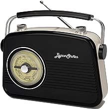 Byron Statics Radios Portable Am FM Analog Large Rotary Dial Swivel Good Sensitivity and Audio External Metal Antenna Knob Switch Removable Power Plug or 1.5V AA Battery with Headphones Plug Black