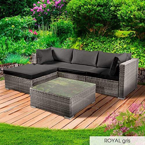 BRAST Poly-Rattan Gartenmöbel Lounge Set 15 Modelle 3 Farben 4-12 Personen Aluminium Sitzgruppe ROYAL Grau - 6