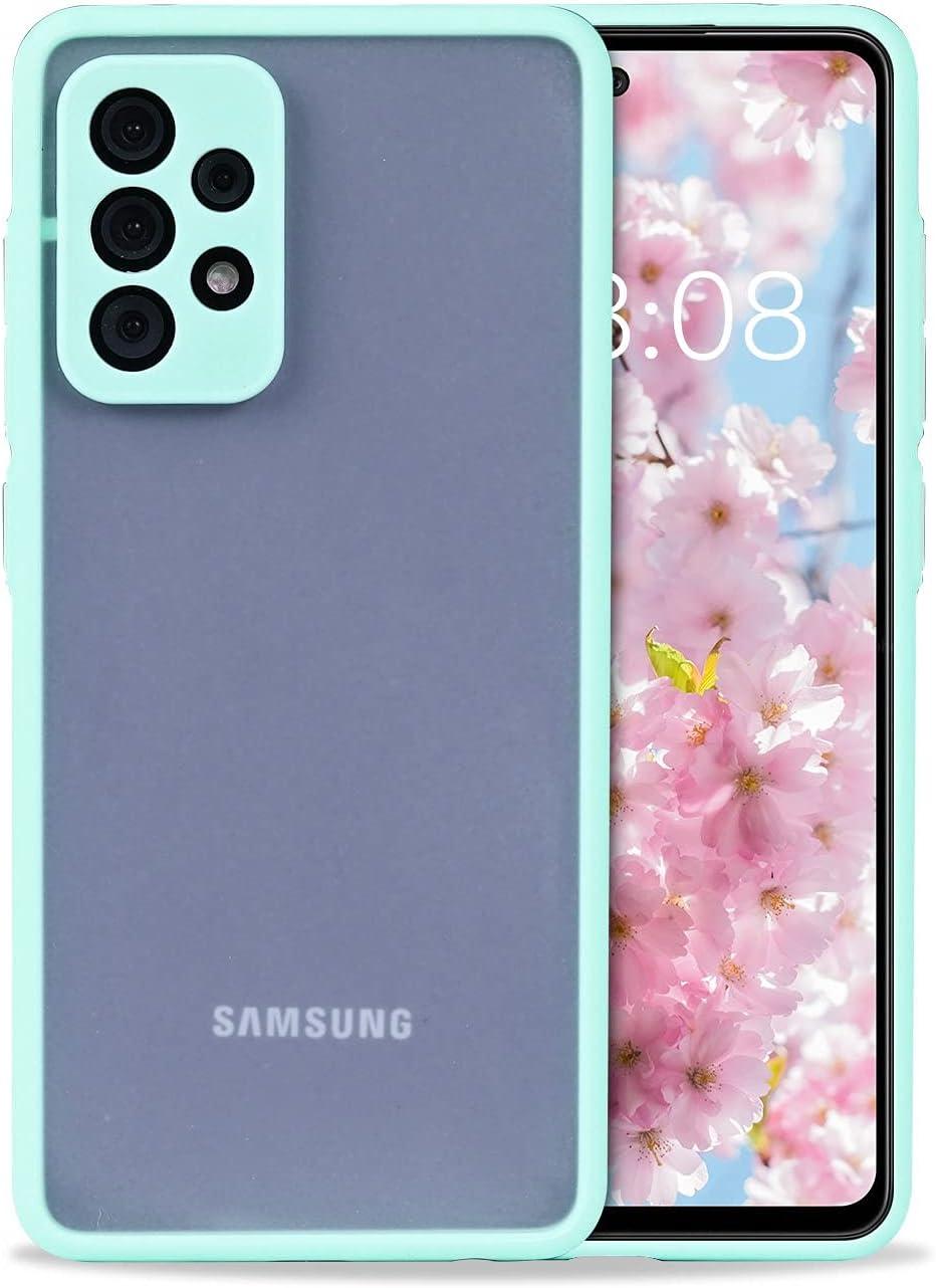 Wkae Colorful Soft TPU Bumper Semi-Transparent cleint Barton Sensation Sand Protection Mobile Phone case for Samsung Galaxy A52 5G (Color : Blue, Size : A52 5G)