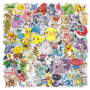 100 Pcs Pokemon Stickers Cute Anime Pikachu Stickers Gift for Kids Teen Birthday Party,Cool Waterproof Vinyl Decal for Water Bottle Luggage Phone Guitar Computer Bike Skateboard