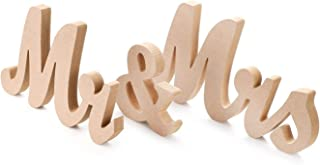 Marsheepy Natural Wooden Mr and Mrs Signs Wedding Sweetheart Table Decoration,Mr & Mrs Sign Decorative Letters for DIY Wedding Photo Props Party Decoration