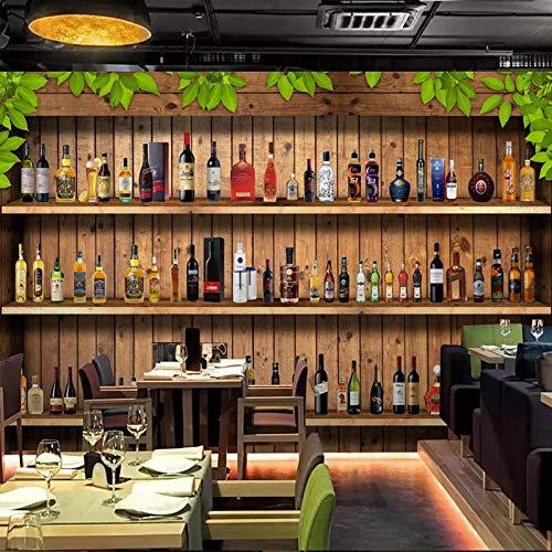 SUNNYBZ Papel Pintado De Pared 3D Gabinete De Vino Botella De Vino Bar Tablero De Madera. 200X150 Cm Empapelado Pegatina Mural Autoadhesivo Decorativos Extraíble Impermeable Para Hogar Cocina Salón Mo